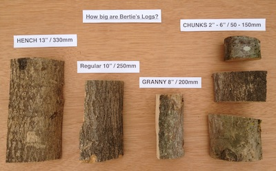 Bertie's Log Sizes